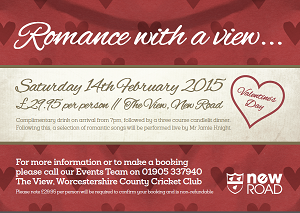 Romance with a View at The View, New Road 14th Feb 2015