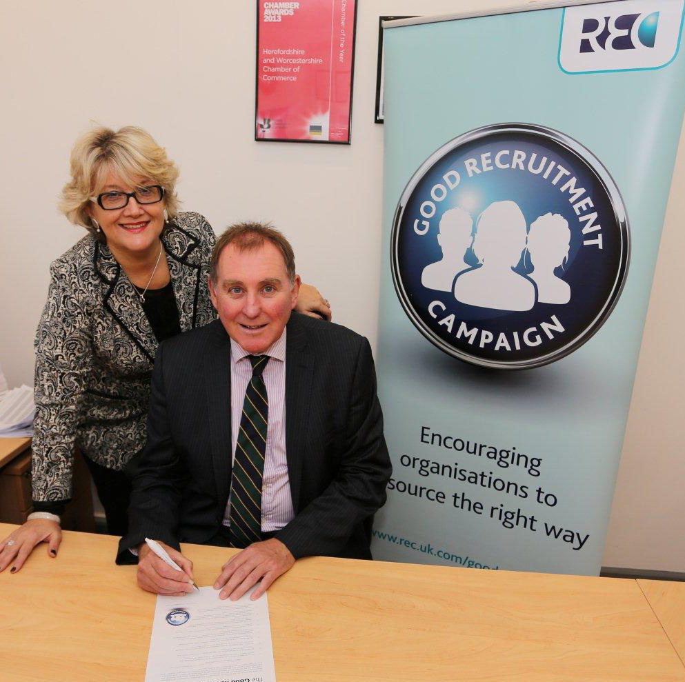 Herefordshire and Worcestershire Chamber of Commerce are the first Chamber to sign up to the REC Good Recruitment Campaign.