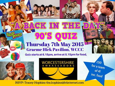 """""""A Back in the Day"""" 90s Quiz Thursday 7th May 2015"""
