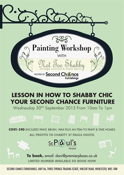 Second Chance Furnishing Painting Workshop with Not Too Shabby 30 September 2015