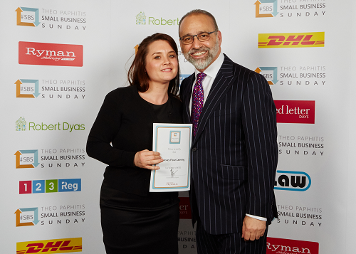 Bewdley's Paisley Flour Catering Presented with Award by Theo Paphitis
