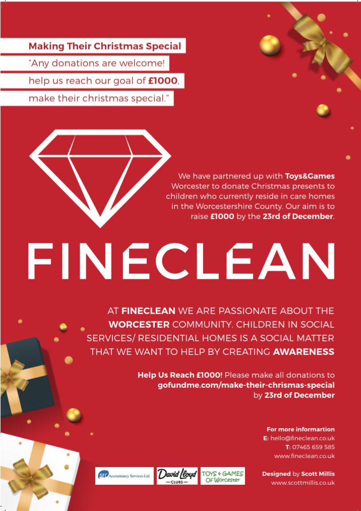 "FINECLEAN Have Partnered with Toys&Games Worcester for ""Making Their Christmas Special""‎ Campaign"