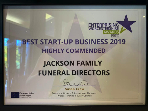 Jackson's Win Highly Commended Award at Enterprising Worcestershire Awards 2019