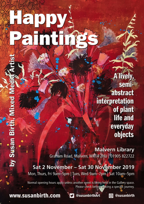 Happy Paintings Exhibition by Susan Birth, Mixed Media Artist: 2nd November – 30th November