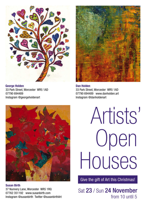 Artists' Open Houses – 23rd – 24th November 2019 10am – 5pm